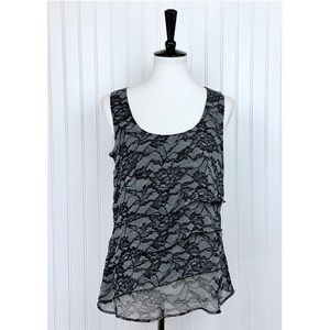 Maurices • Black Gray Lace Tiered Top • M